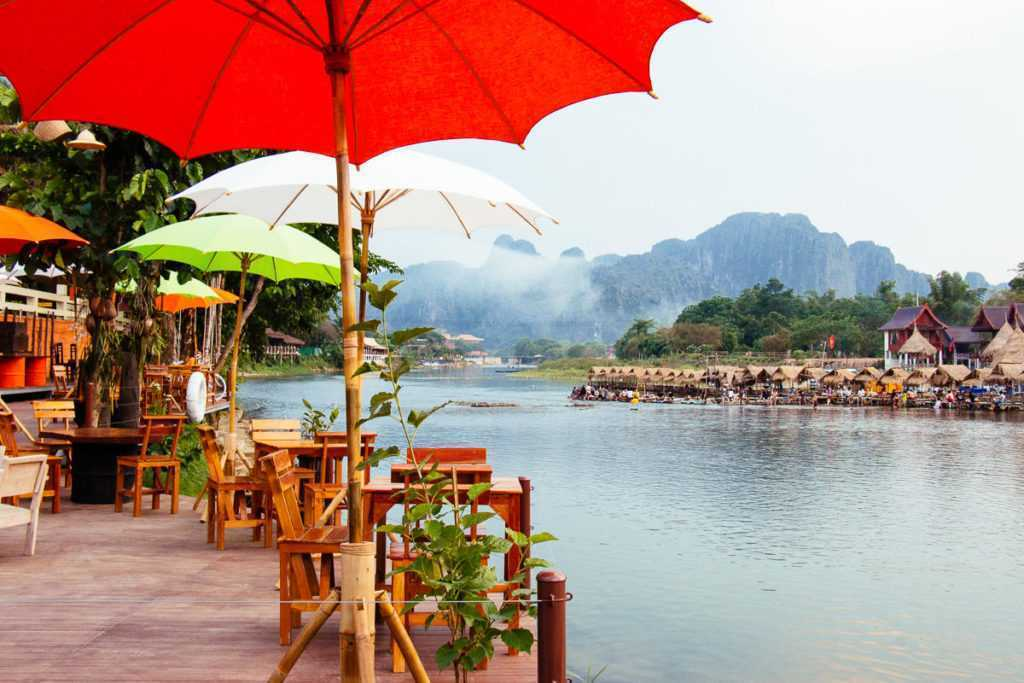Bar at Nam Song river, Vang Vieng, Lao