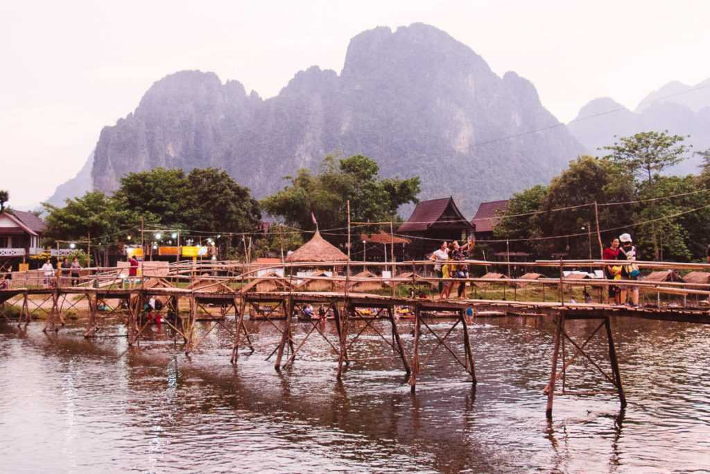 Bamboo bridge in Vang Vieng, Lao