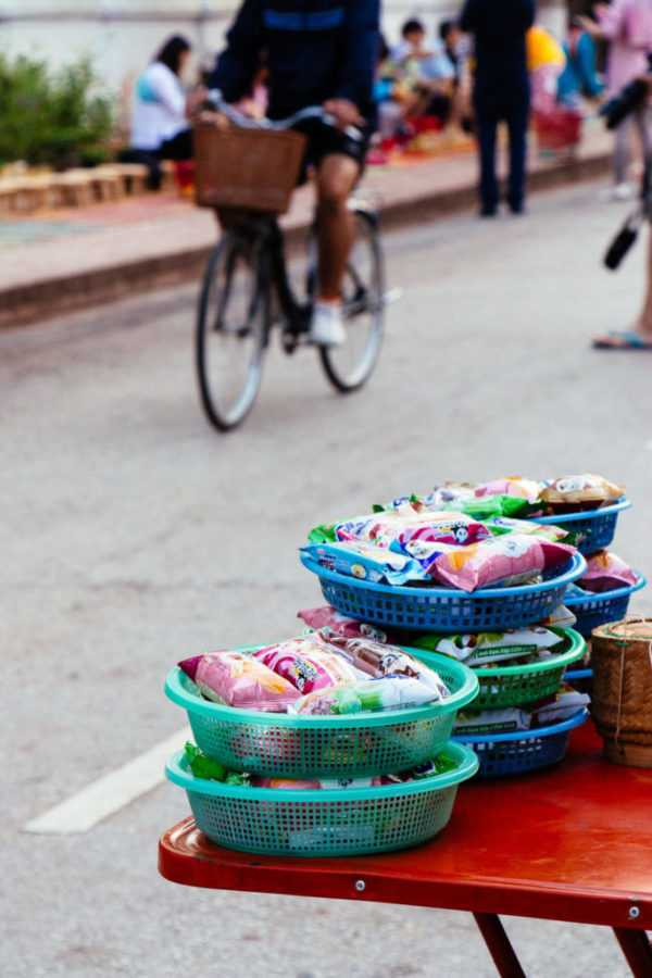 Baskets with offerings for monks, Luang Prabang, Lao