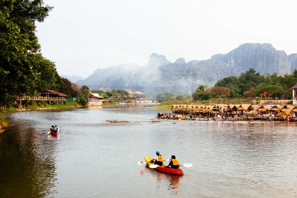 Kayaking on Nam Song river, Vang Vieng, Lao