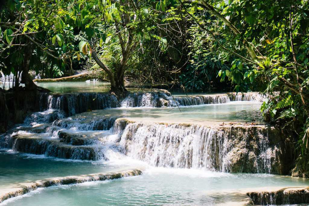 Pool at Kuang Si waterfall in Lao