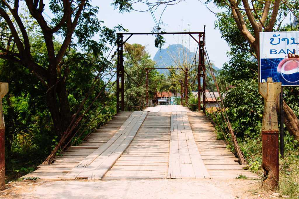 Wooden bridge in Vang Vieng, Lao