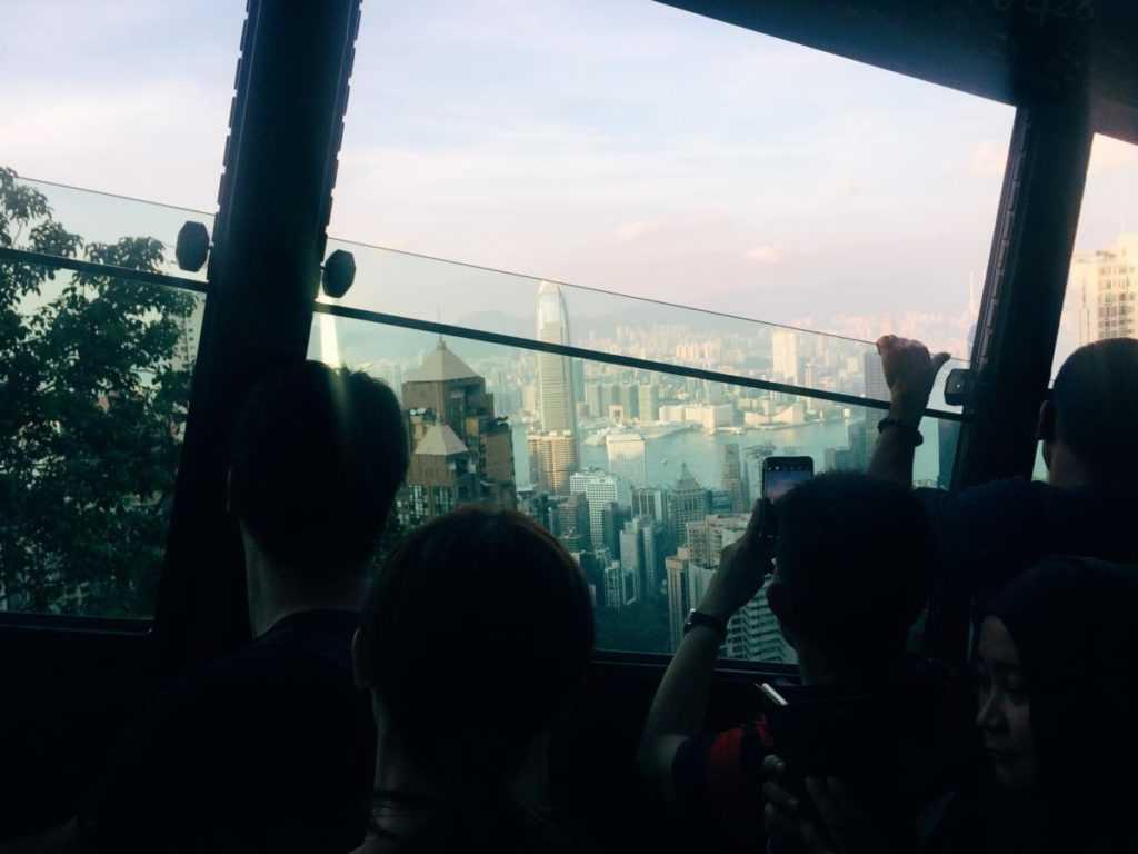 Riding the Peak tram in Hongkong