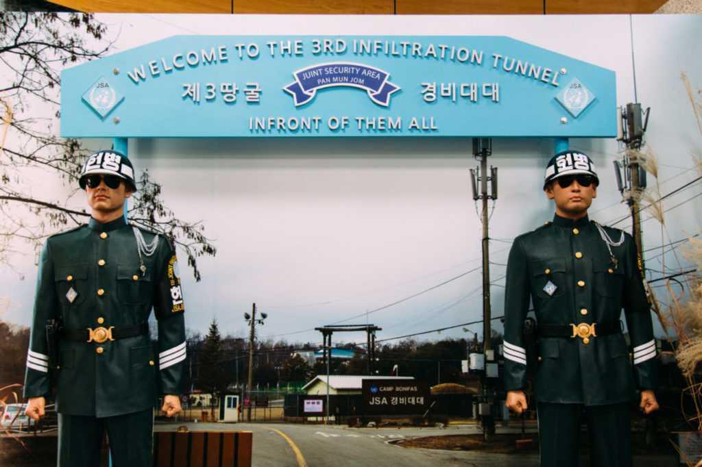 soldaten am dritten tunnel zu nordkorea