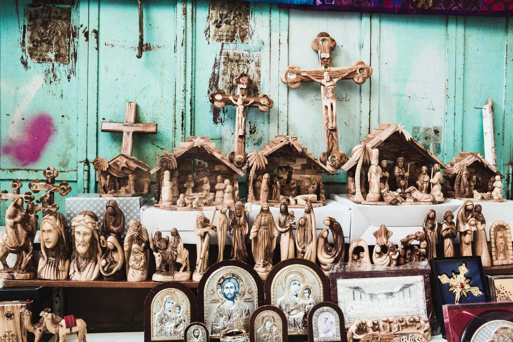 Kruzifixe Krippen Heiligenbilder Jerusalem