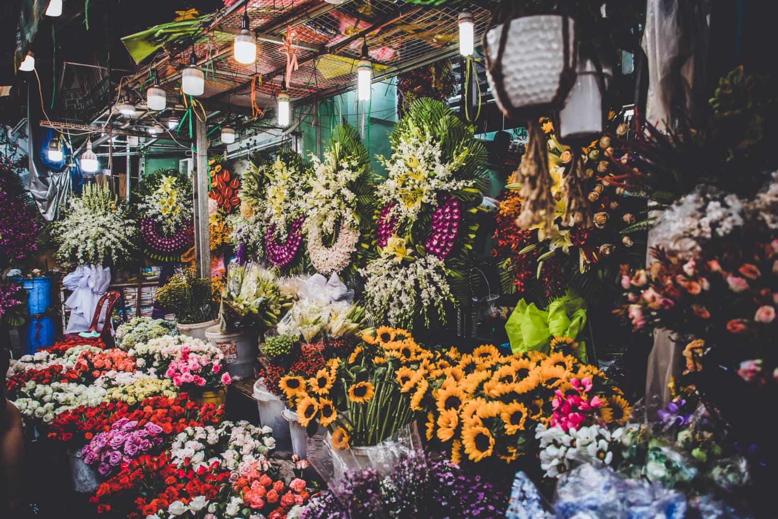 Blumen auf dem Ho Thy Ky Flower Market Saigon