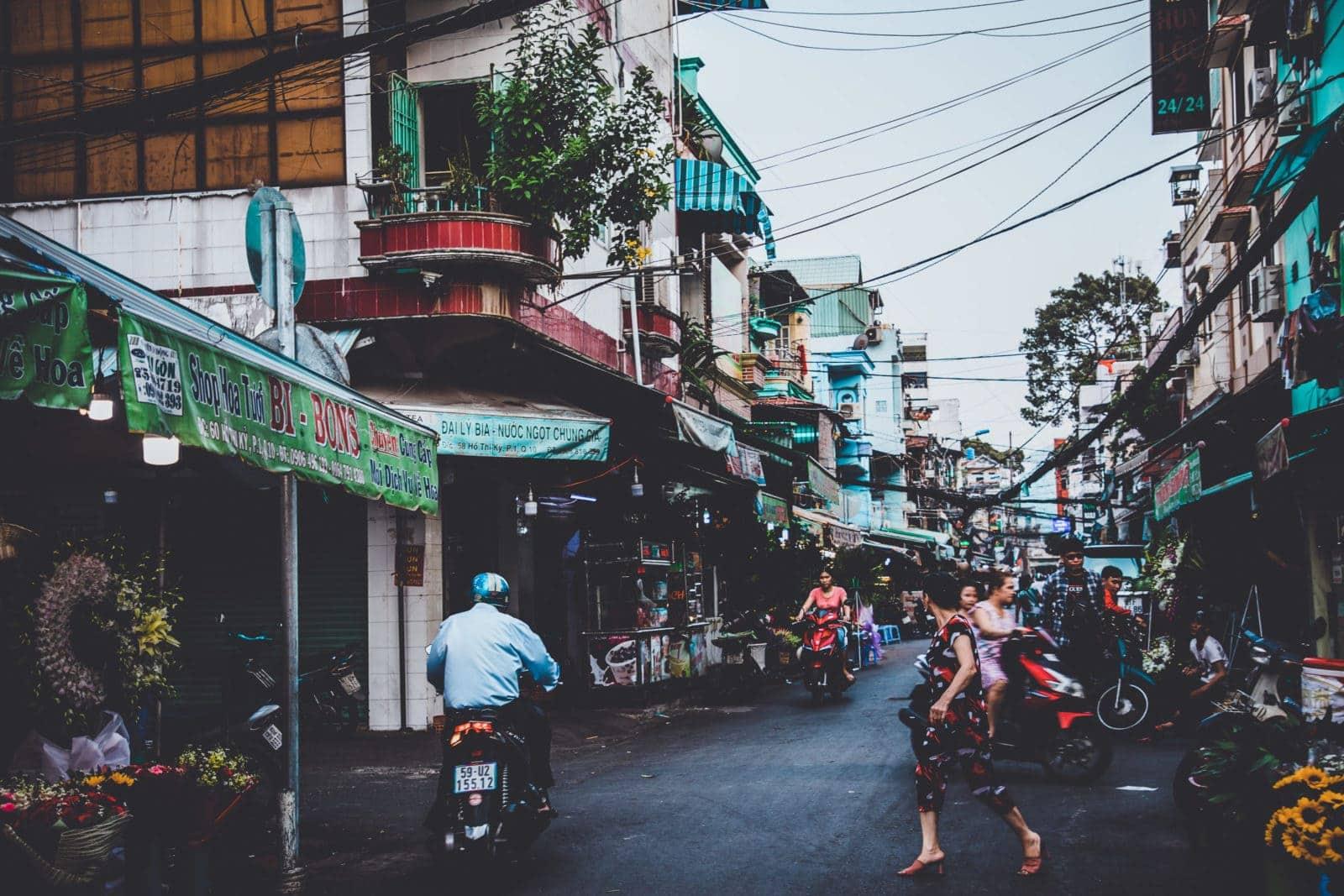 Straße im Ho Thy Ky Flower Markt Blumenmarkt Saigon