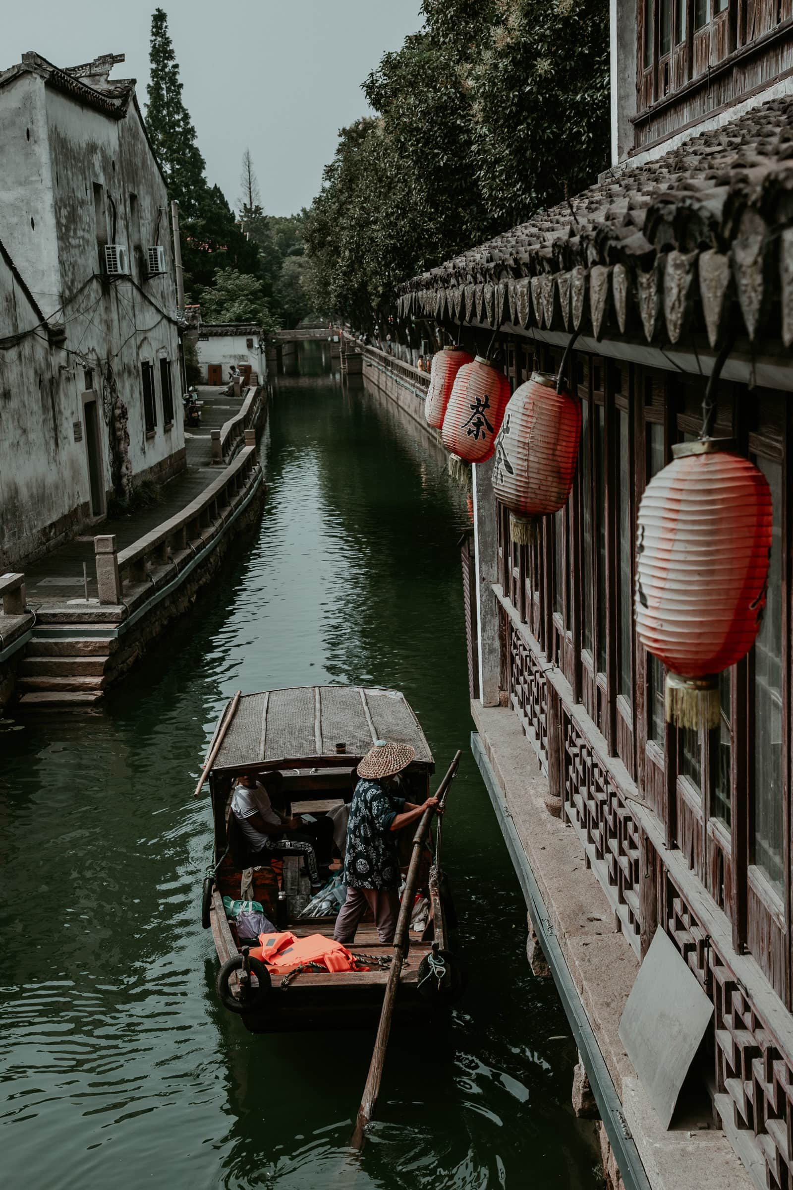 Suzhou Sehenswürdigkeiten Pingjiang Road Boote auf Kanal