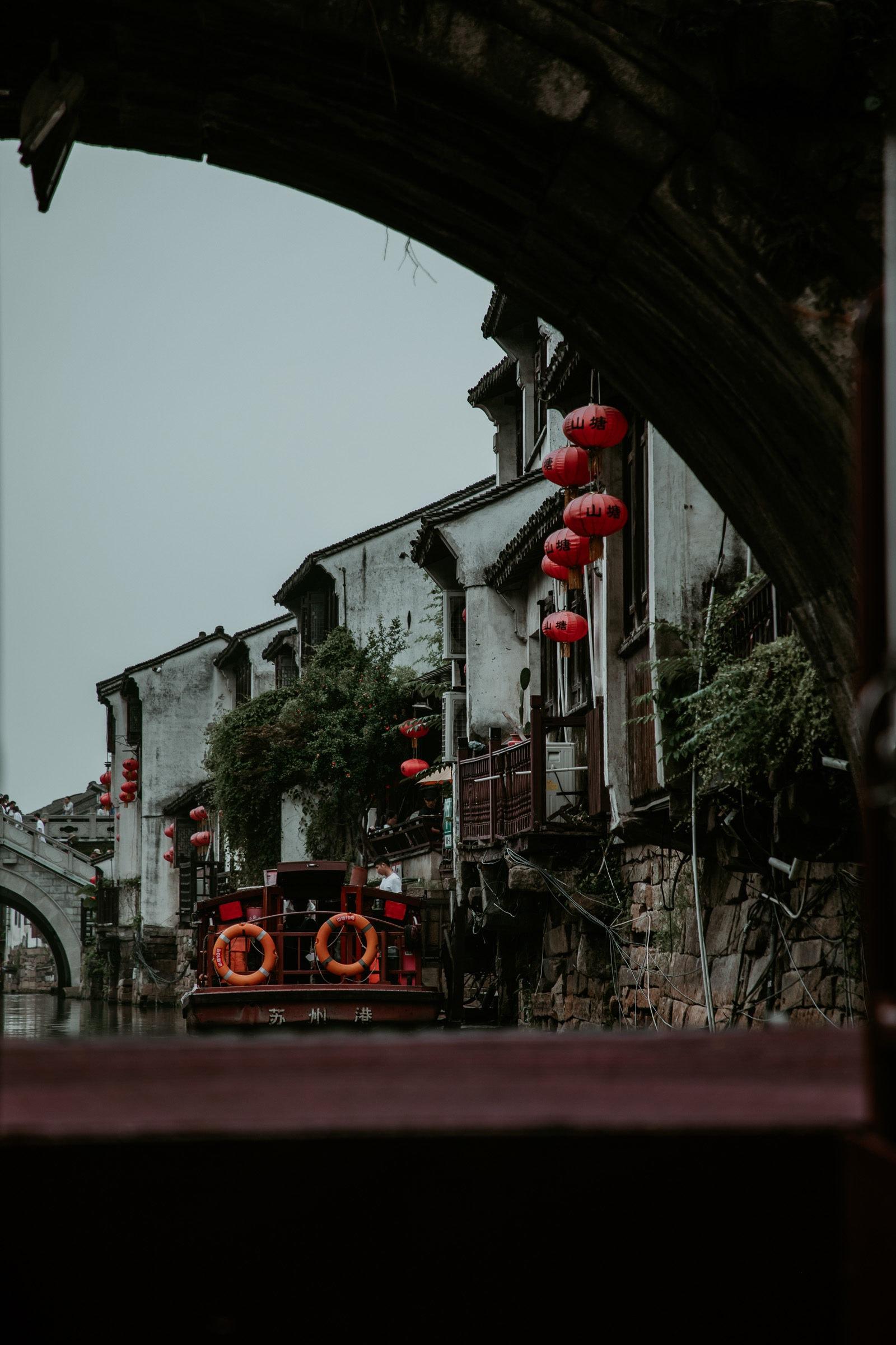 Suzhou Sehenswürdigkeiten Bootsfahrt Kanäle Shantang Street