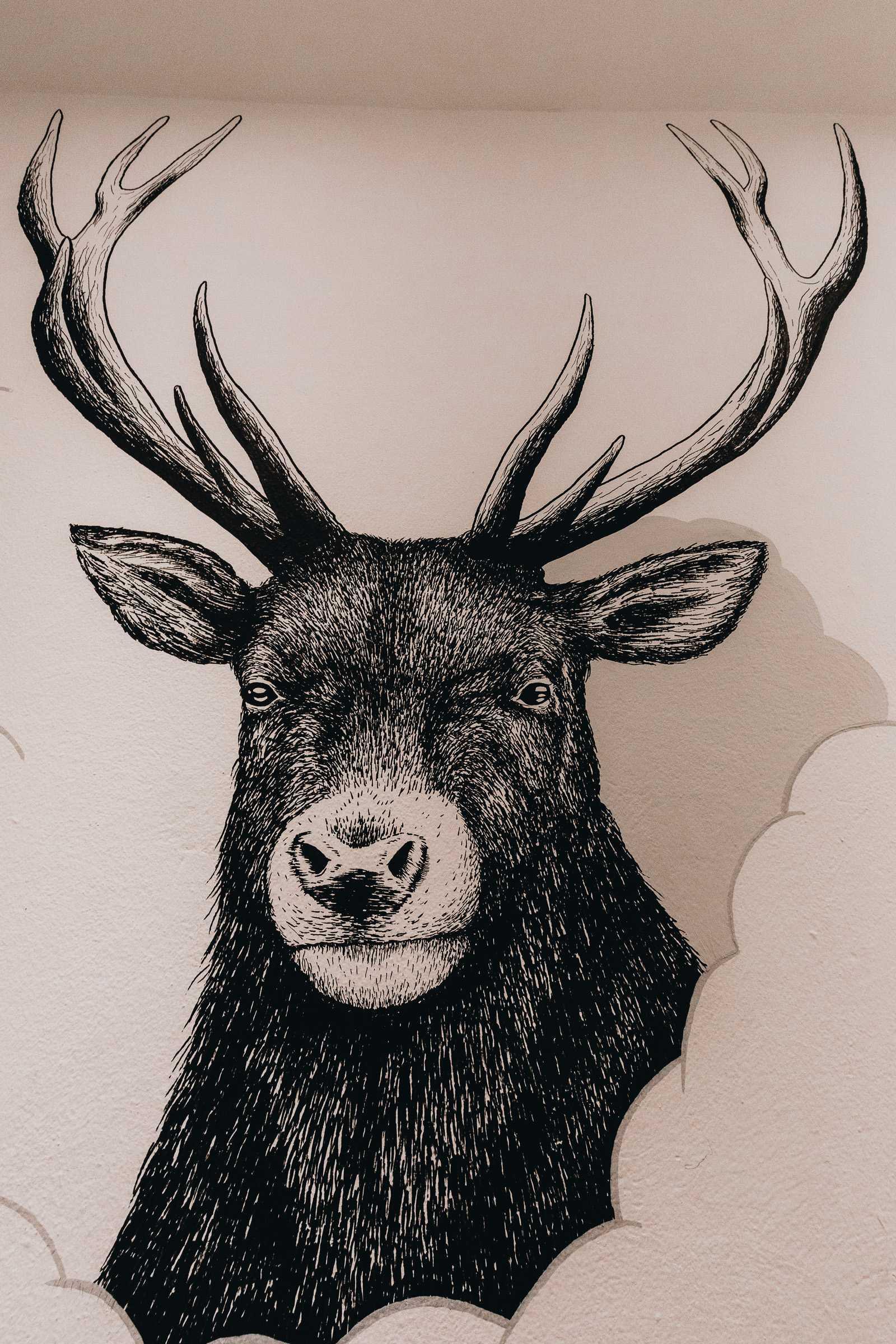 Zeichnung Hirsch schwarz weiß