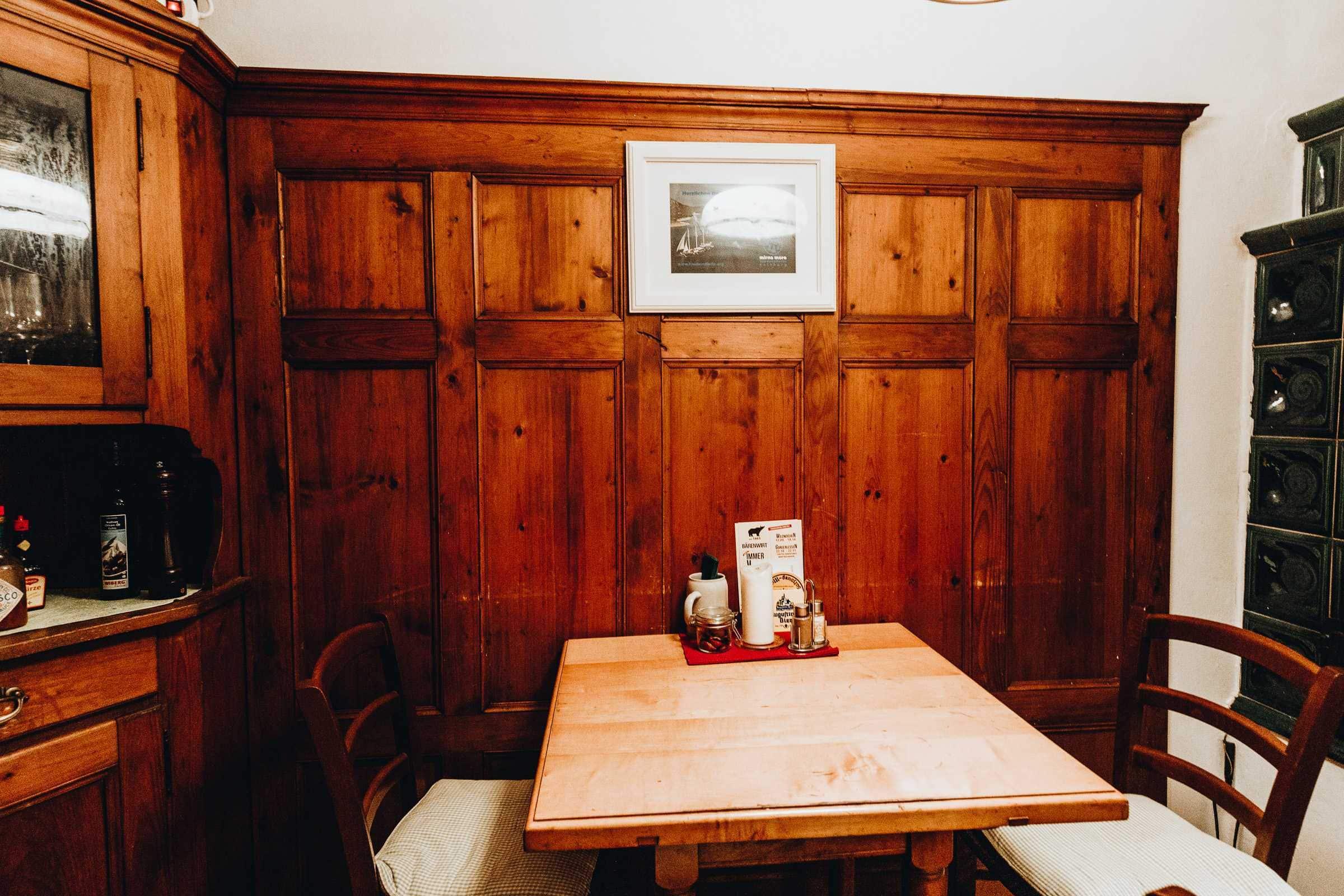 Tisch im Bärenwirt Salzburg