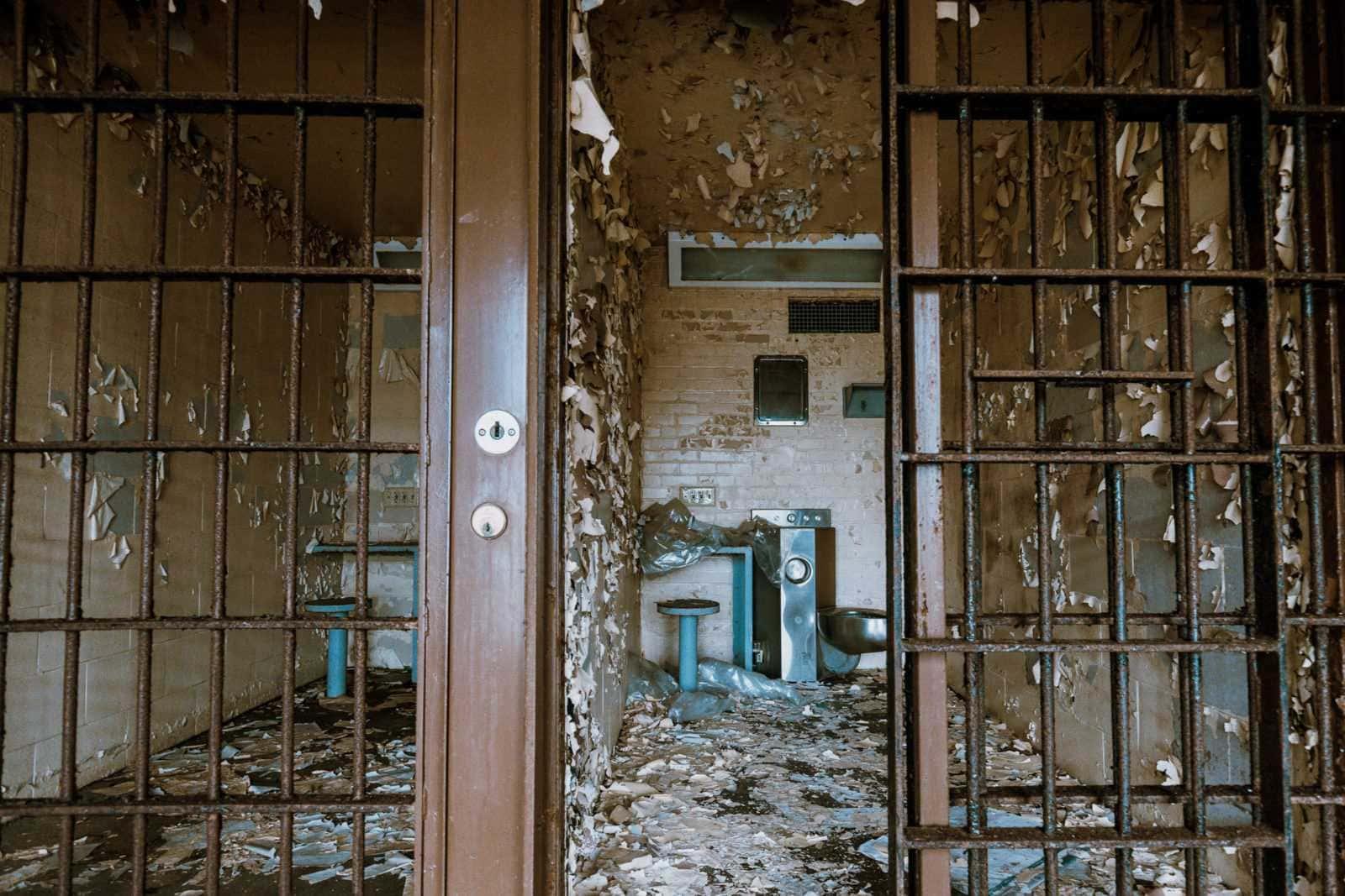 alte zelle in der old joliet prison illinois usa