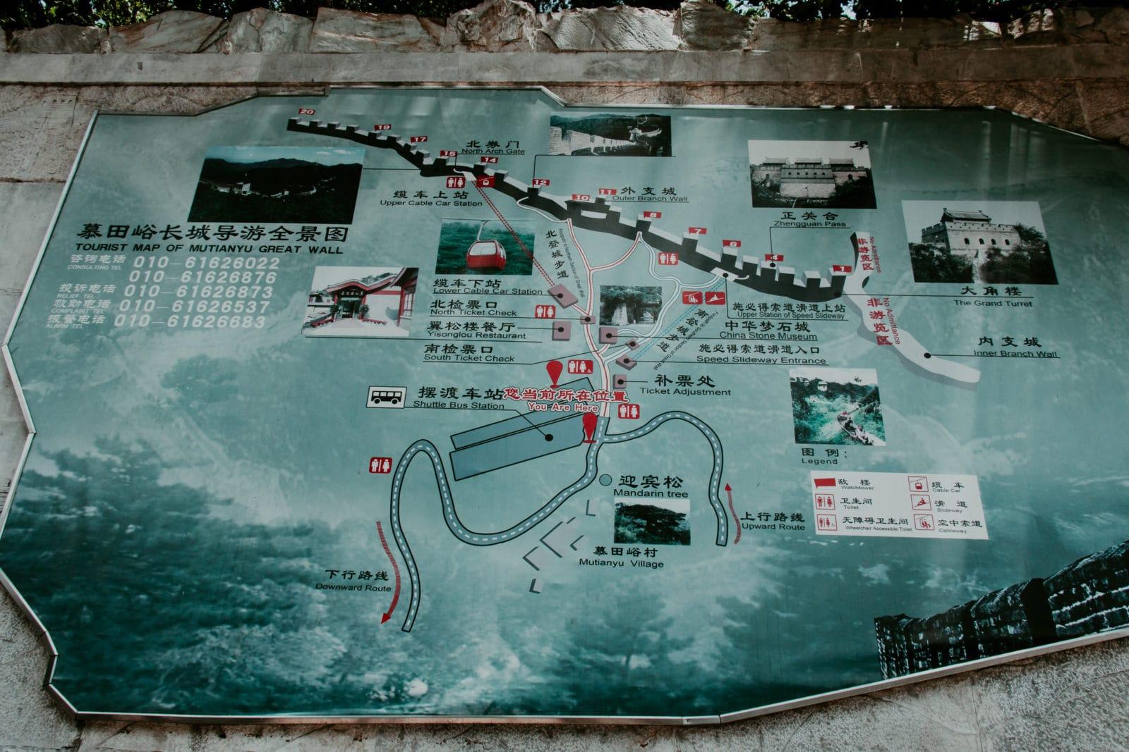 Chinesische Mauer Karte Mutianyu