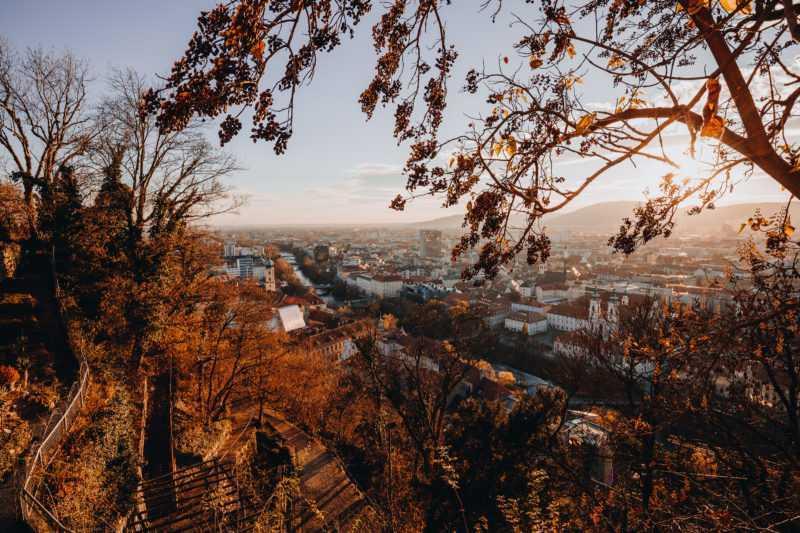 Sonnenuntergang Graz Schlossberg Mur Altstadt