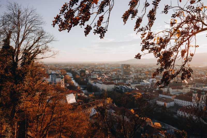 Herbst Graz Schlossberg Aussicht
