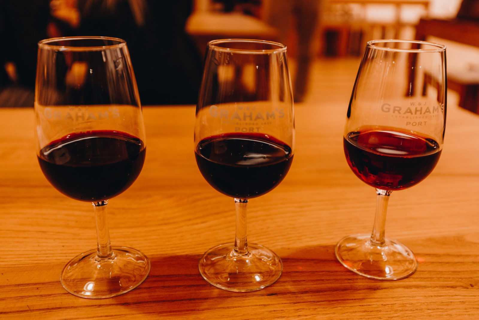portwein porto drei Gläser Portwein Probe kostenlos