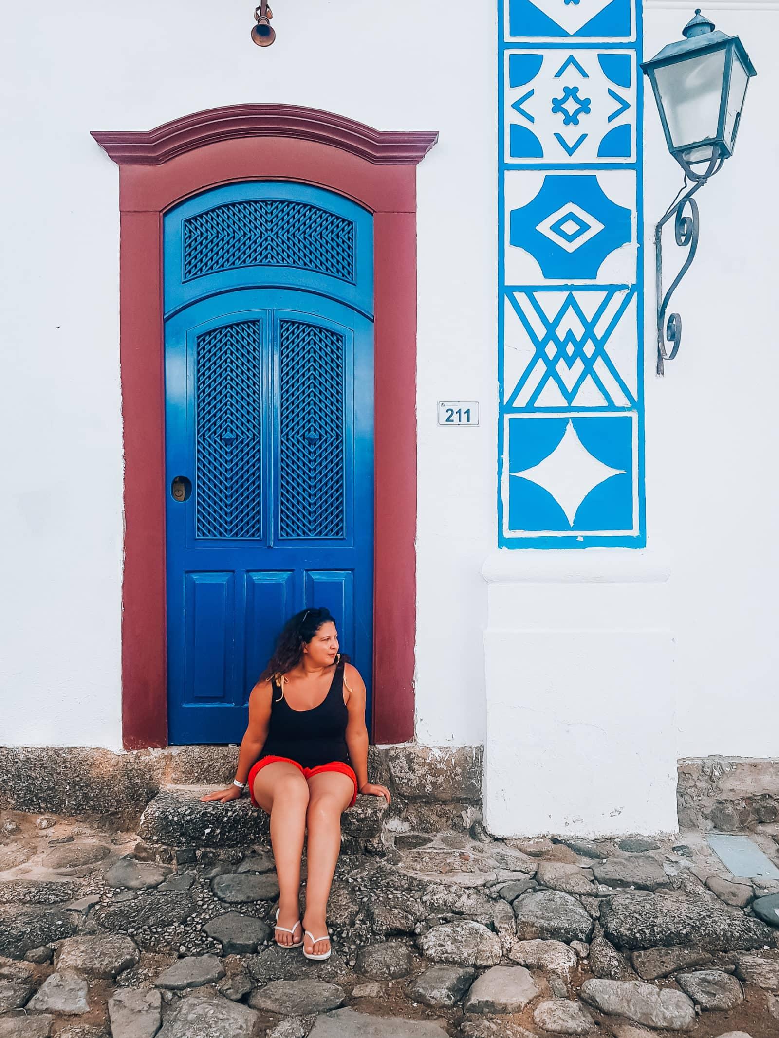 Blaue Tür in der Altstadt von Paraty