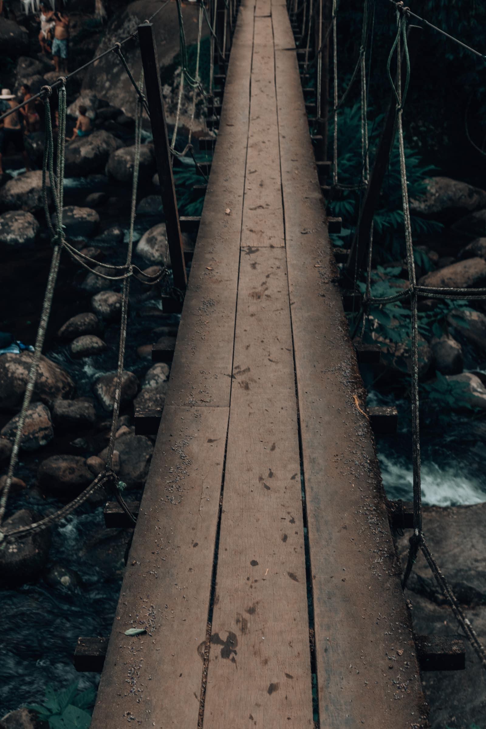 Hängebrücke im dunklen Dschungel