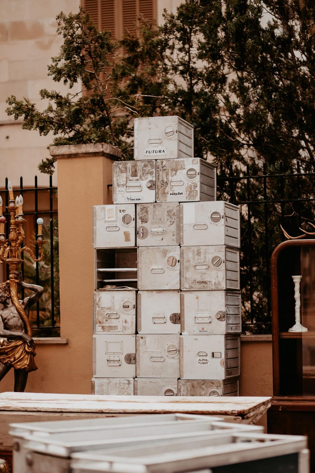 Old airline catering boxes Mallorca flea market