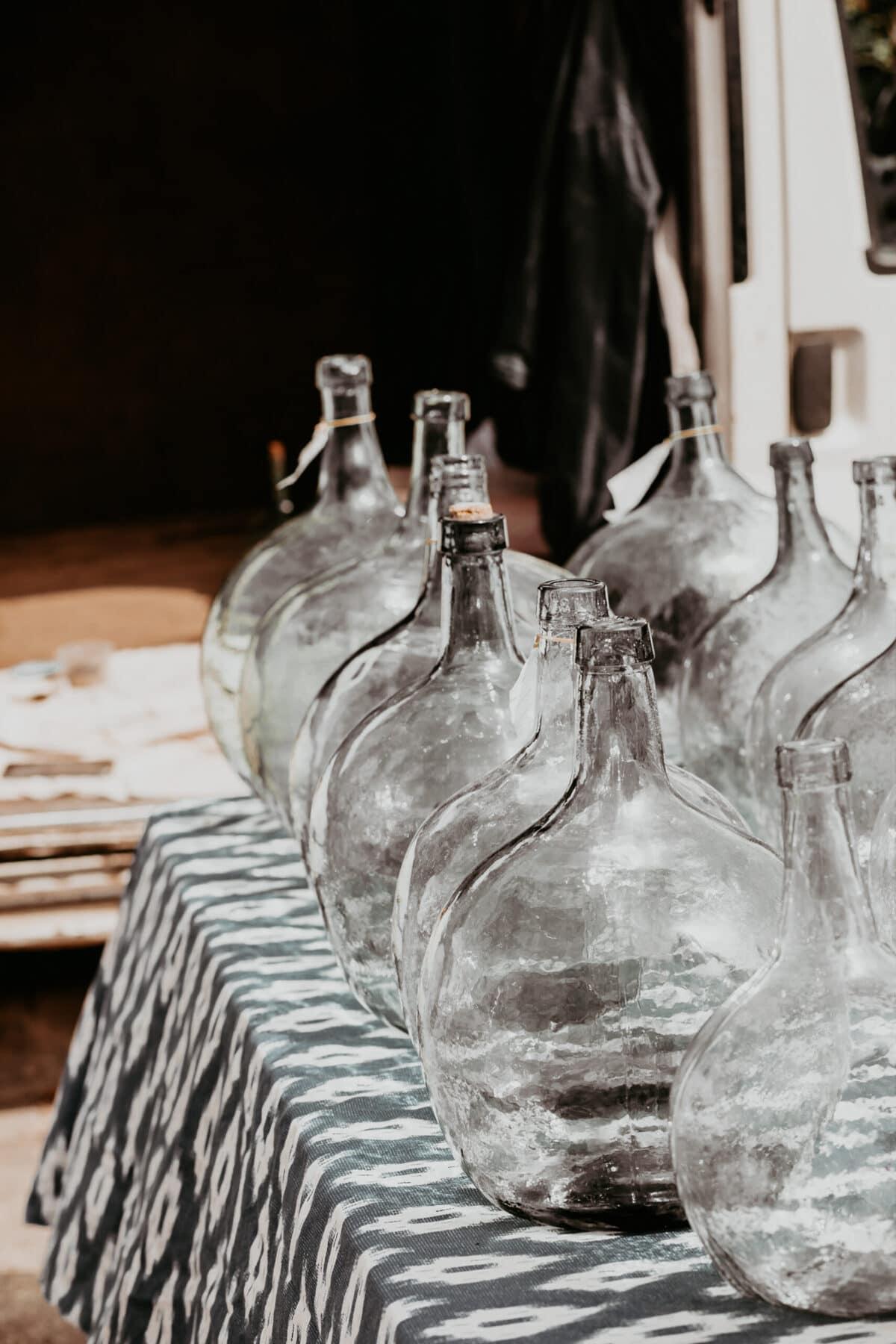 Glass bottles flea market Mallorca
