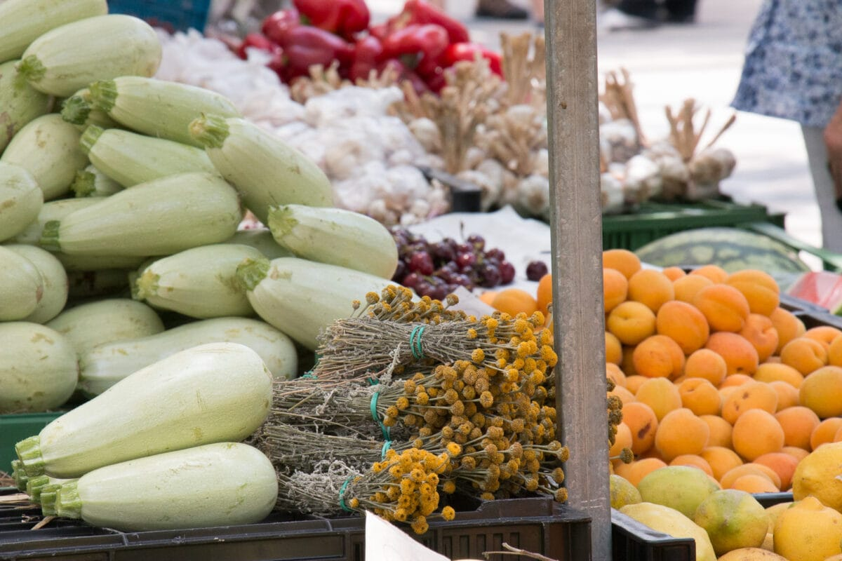 Vegetable stall at market in Mallorca