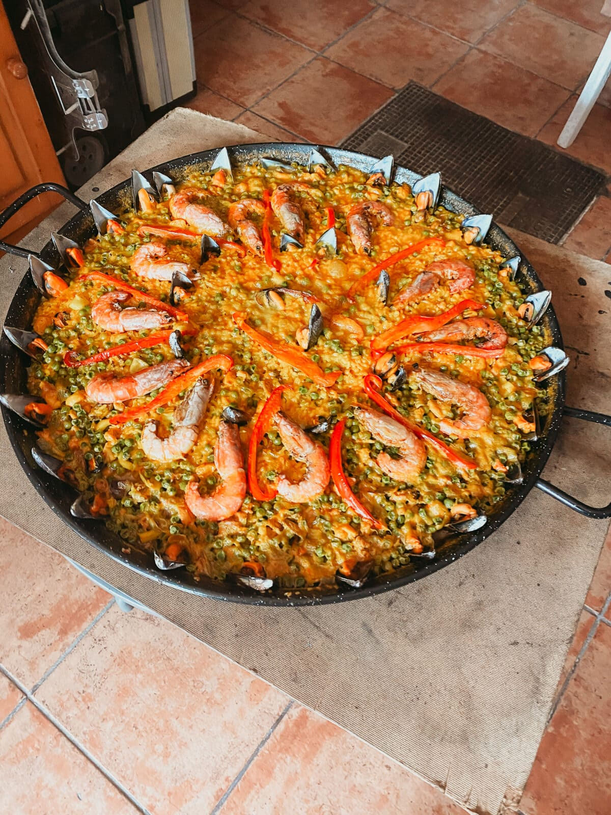 Huge paella pan with prawns and mussels Mallorcan specialties